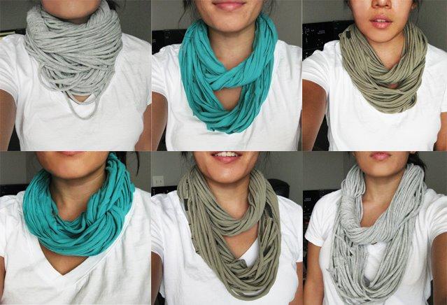 Простые нитяные шарфы из футболок - подходят только под стиль гранж