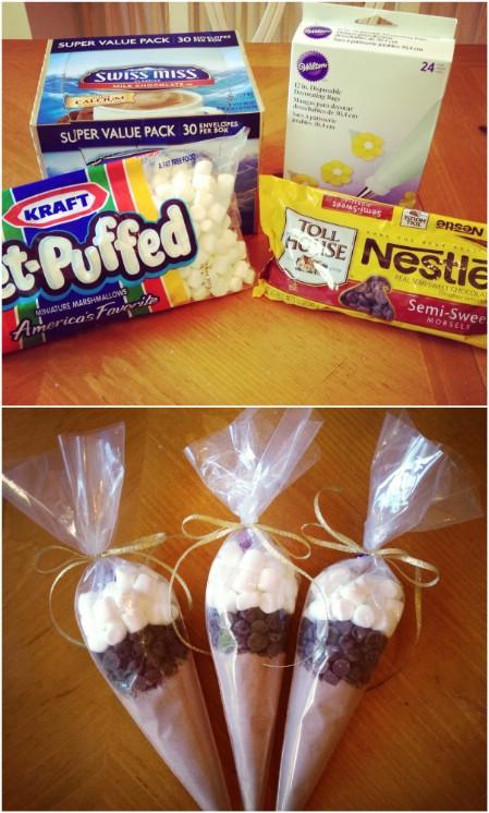 Как выглядят рукодельные подарки, интересные вашим близким: конусы со всем, что нужно для вкуснейшего какао