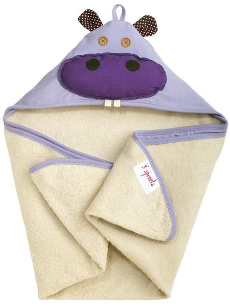 Как выглядят рукодельные подарки, интересные вашим близким: детское полотенце в виде плаща с капюшоном и мордочкой на капюшоне - бегемотик