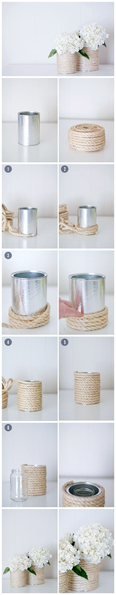 Как выглядят рукодельные подарки, интересные вашим близким: металлическая ваза, украшенная веревкой - обмотка