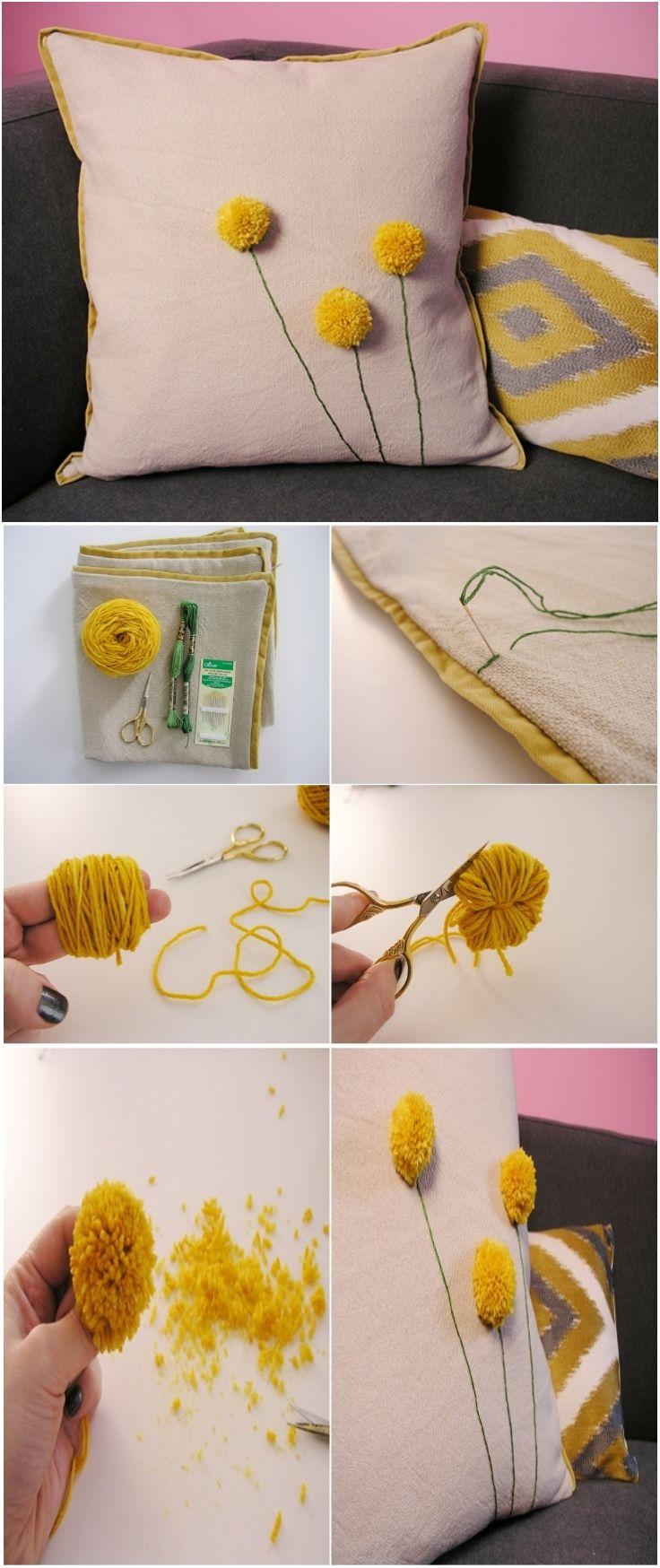 Как выглядят рукодельные подарки, интересные вашим близким: декоративные подушки и серии наволочек к ним - с объемными одуванчиками