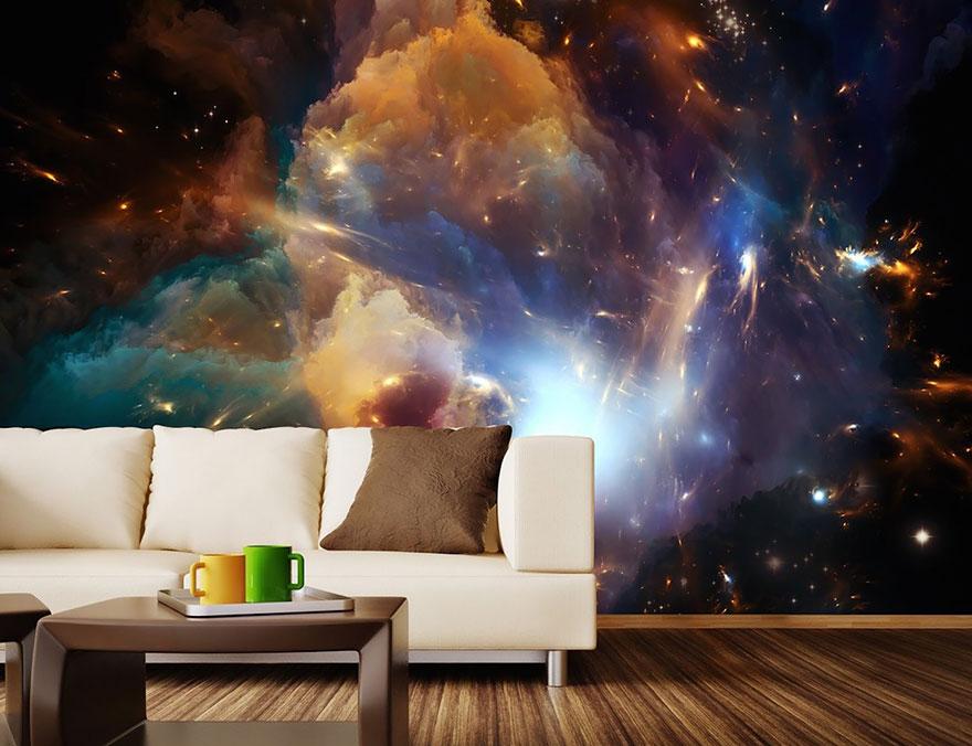 Роспись в виде космических туманностей на стенах