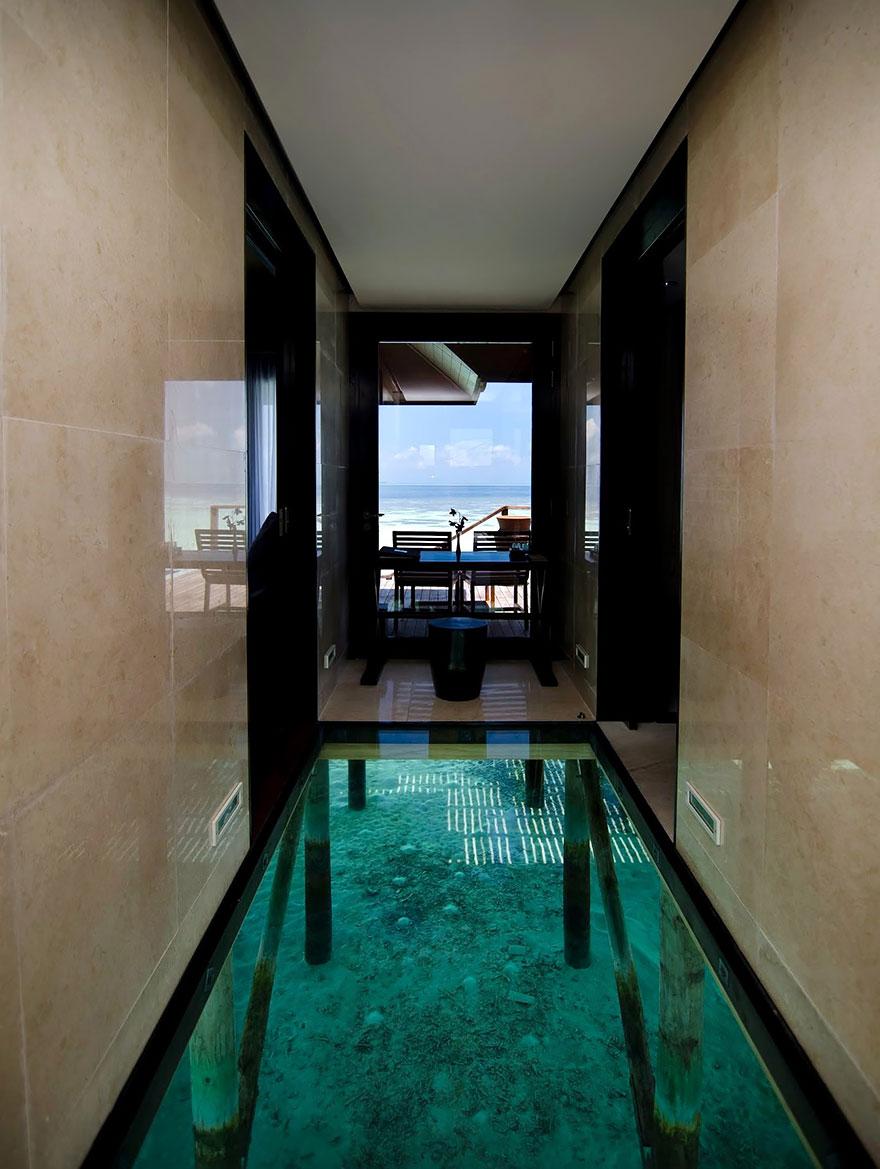 Большой аквариум в полу или стеклянный пол над водой