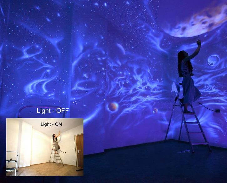 Настенная роспись, которая проявляется только в темноте – и светится! Целая вселенная в одной комнате
