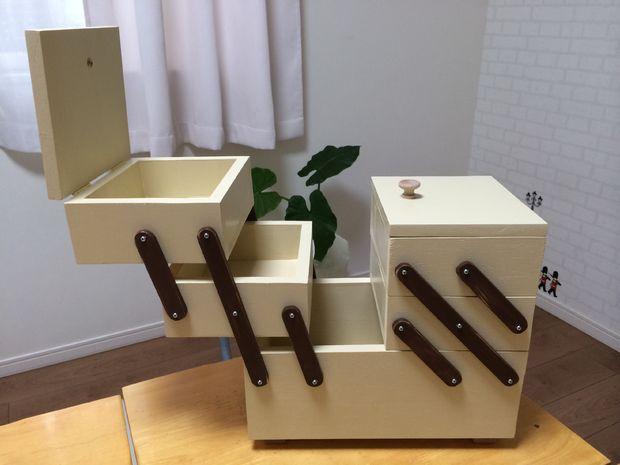 готовый раскладной ящик для швейных принадлежностей/косметики и проч.