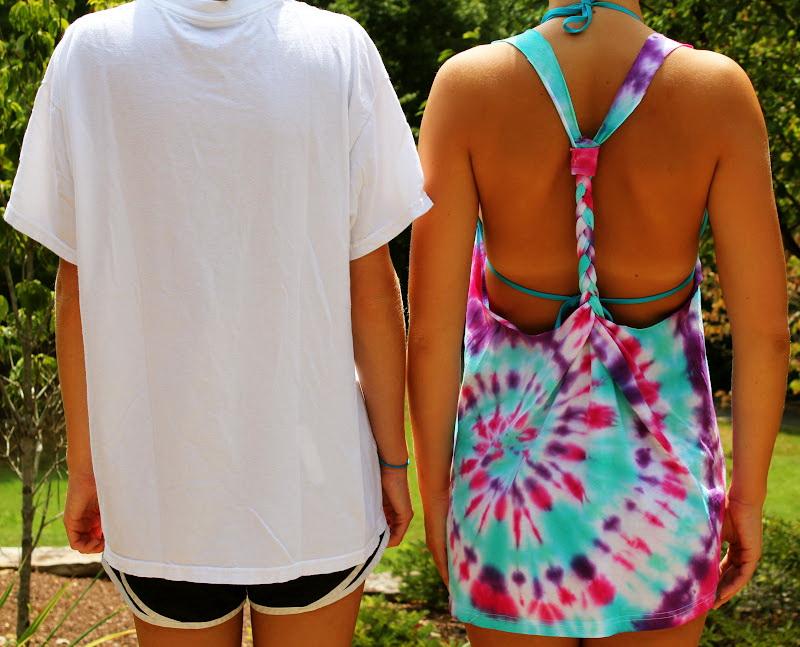 Как сделать яркую пляжную тунику из обычной белой футболки