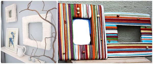 Как еще можно использовать пряжу, кроме вязания: рамки для фотографий, украшенные пряжей