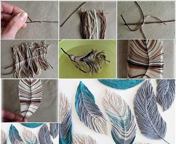 Делаем перья из пряжи: пошаговая инструкция в картинках
