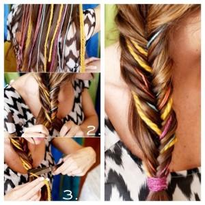 Цветную пряжу вплетают в волосы