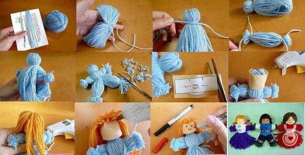 А вот так при небольшой поддержке поделочного фетра можно сделать из пряжи кукол