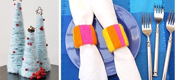 Как еще можно использовать пряжу, кроме вязания: елки и кольца для салфеток