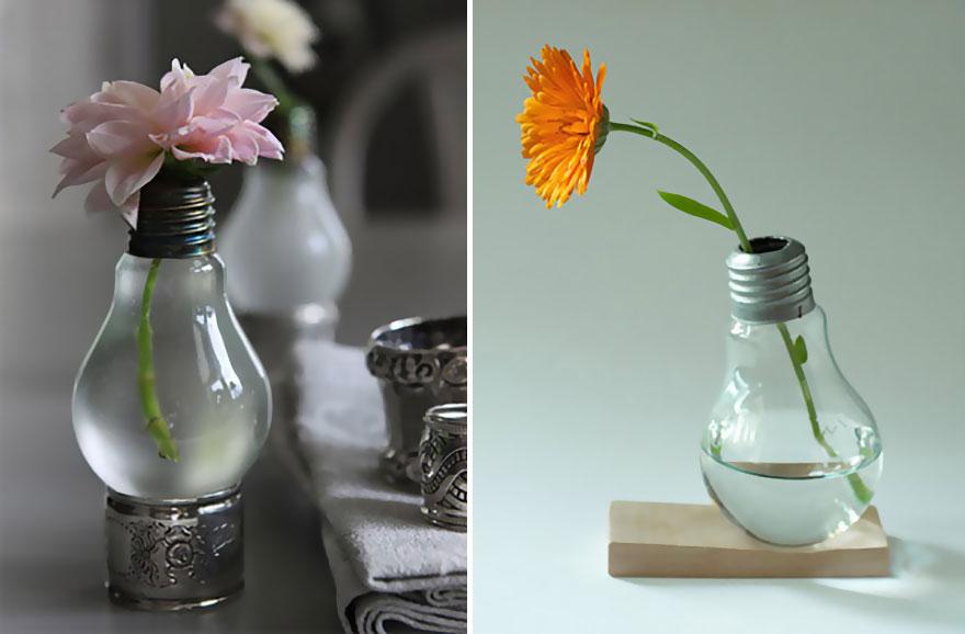мини-вазочки из лампочек накаливания