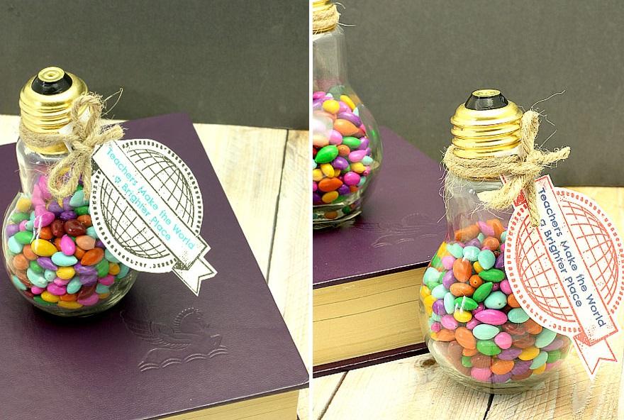 подарок - тара с конфетами из лампочек накаливания