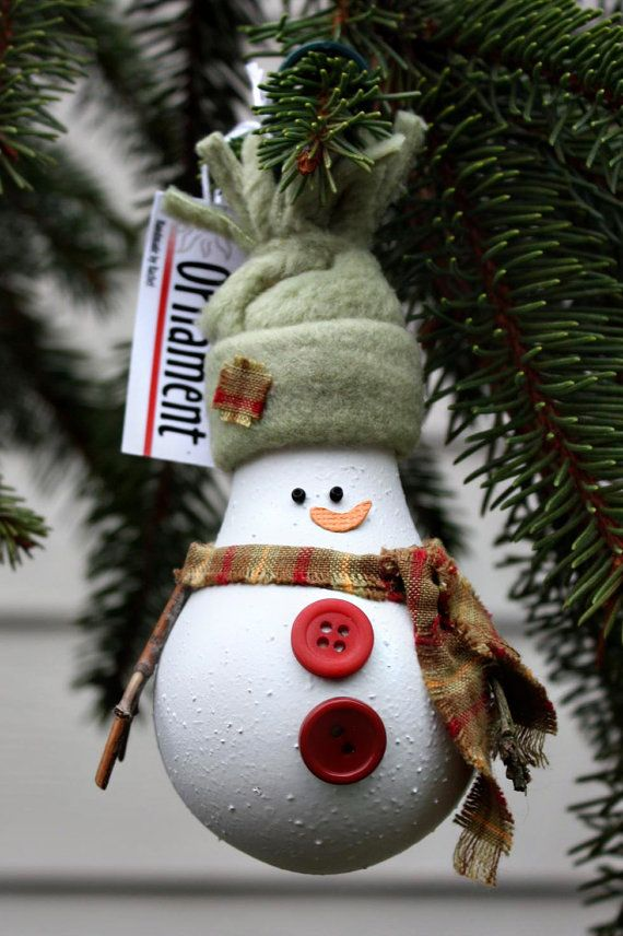 елочные игрушки из лампочек накаливания: снеговик