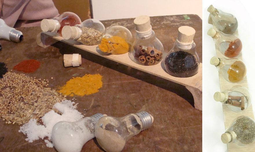 контейнеры для специй из лампочек накаливания