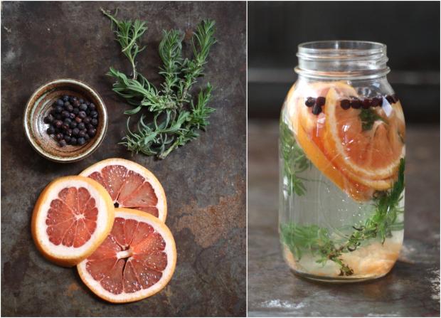 Как сделать натуральные весенне-летние ароматизаторы/освежители воздуха: Дольки грейпфрута, свежие веточки лаванды и цельные сухие ягоды можжевельника