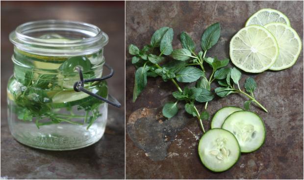 Как сделать натуральные весенне-летние ароматизаторы/освежители воздуха: Дольки лайма, огурца и свежие листья мяты