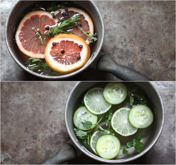 Дольки грейпфрута, свежие веточки лаванды и цельные сухие ягоды можжевельника в кастрюле варим для аромата