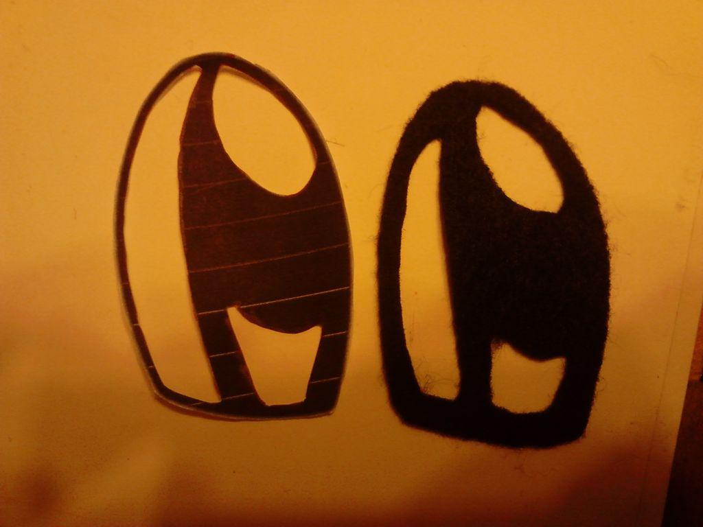 черные секции глаз из черного фетра по шаблону