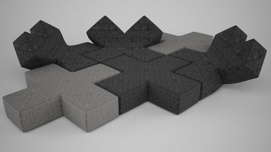 сборный диван из гнущихся крестиков