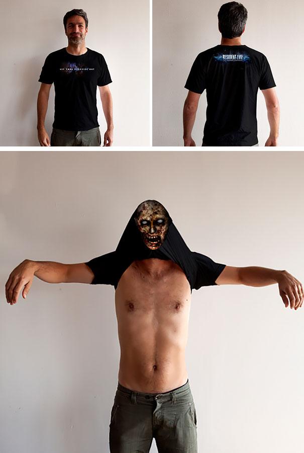 """самые креативные футболки: с сюрпризом на тему """"Обители зла"""""""