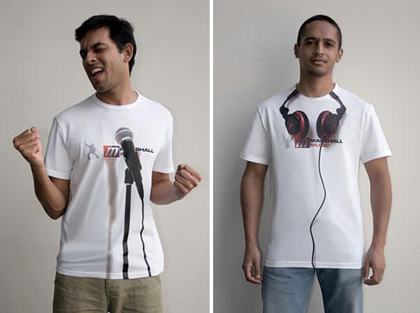 самые креативные футболки: с нарисованными реалистичными 3D микрофонами и наушниками