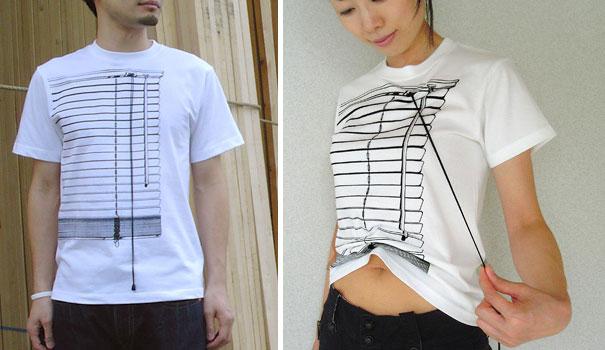 самые креативные футболки: поднимающаяся футболка-жалюзи