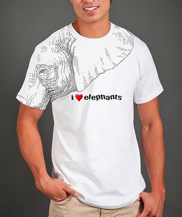 самые креативные футболки: футболка – слон, рука – хобот