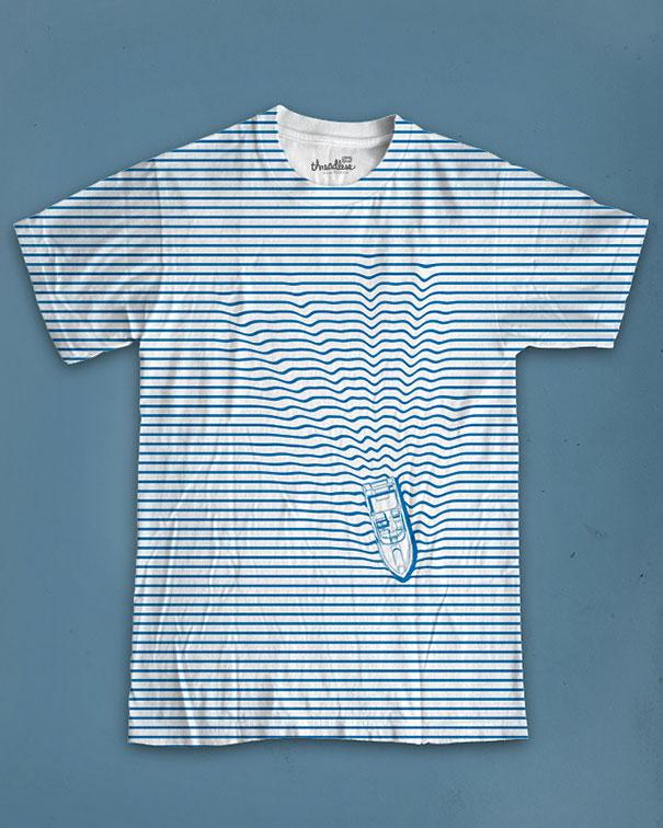 самые креативные футболки: матросска с плывущим корабликом