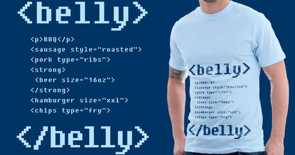 самые креативные в мире футболки: программный код по содержимому желудка