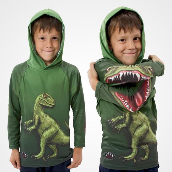 самые креативные в мире футболки: теплая футболка с динозавром