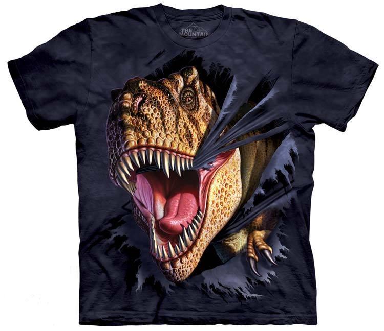 самые креативные футболки: 3D динозавр, рвущий футболку