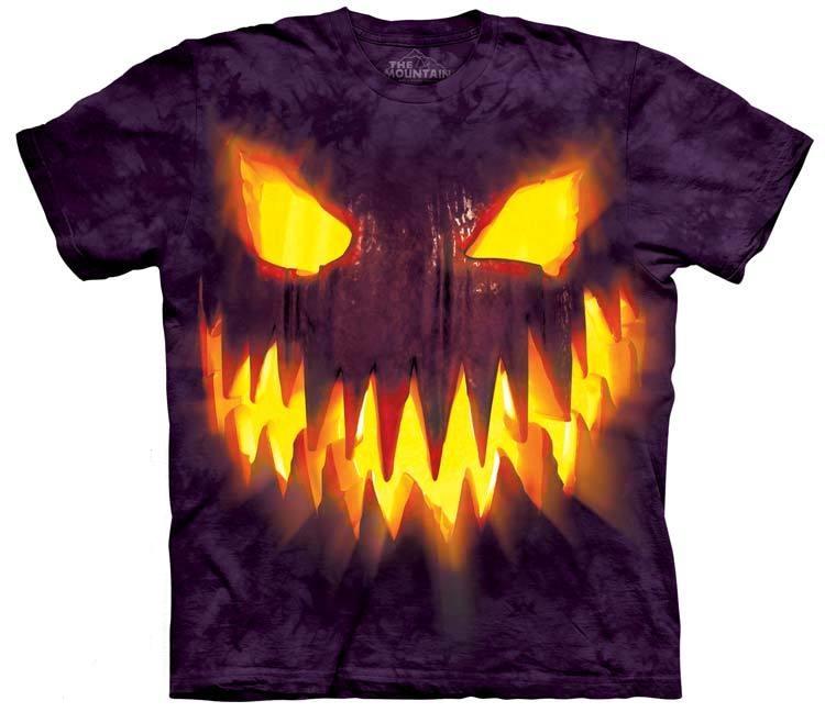 самые креативные футболки: 3D горящая злобная тыква