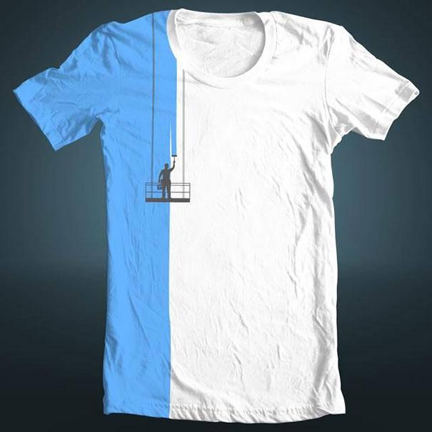 самые креативные футболки: малярные работы на здании