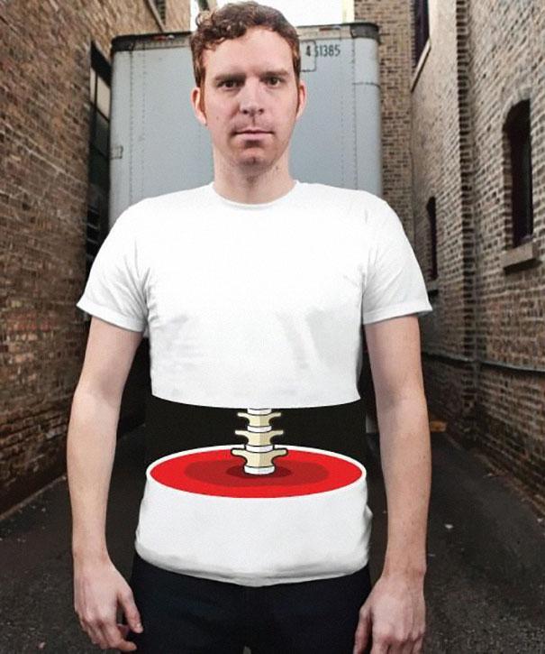 самые креативные футболки: человек с вырезанной серединой