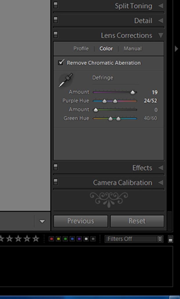 вкладка «Lens Correction» в программе Lightroom - правим хроматические аберрации через «Remove Chromatic Aberration»