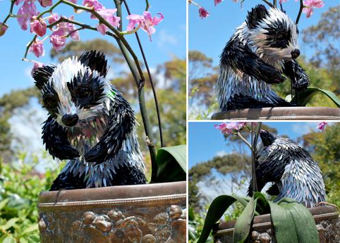 креативно использовать ненужные CD-диски: небольшие скульптуры-фигурки из кусочков - панда
