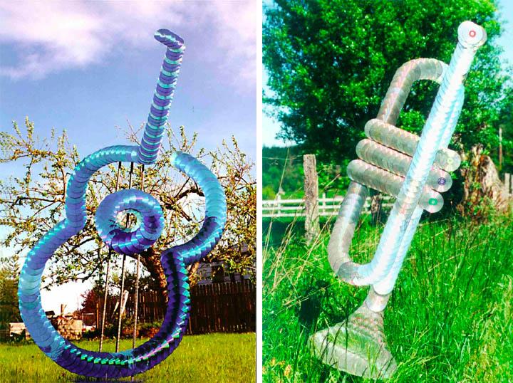 креативно использовать ненужные CD-диски: скульптуры Джорджа Рейдбо - гитара и труба