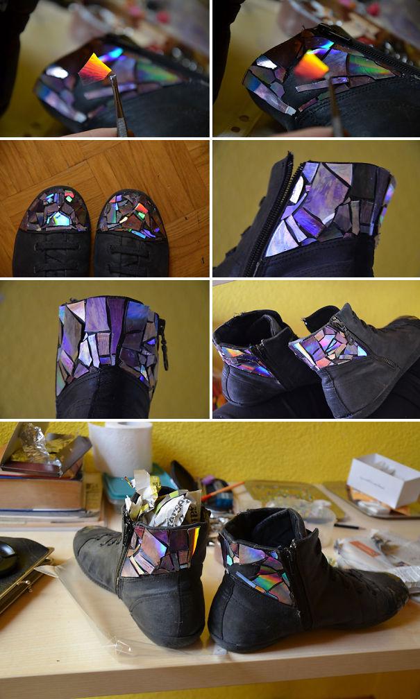 креативно использовать ненужные CD-диски: обклеивание кусочками обуви
