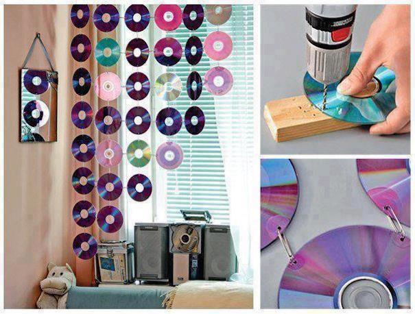 креативно использовать ненужные CD-диски: шторка из дисков