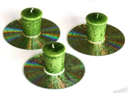 креативно использовать ненужные CD-диски: подсвечники-кракелюр