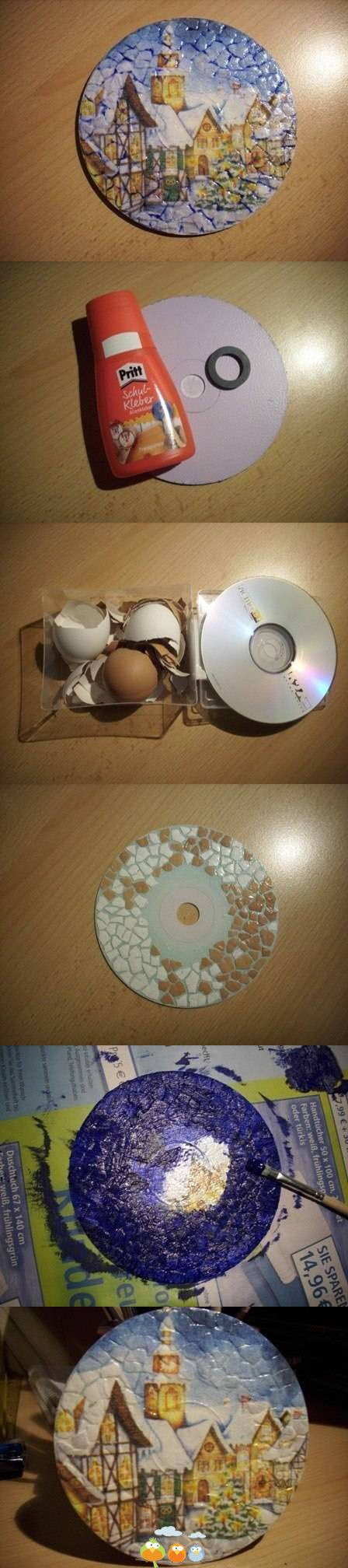 креативно использовать ненужные CD-диски: основа для картин с яичной скорлупой