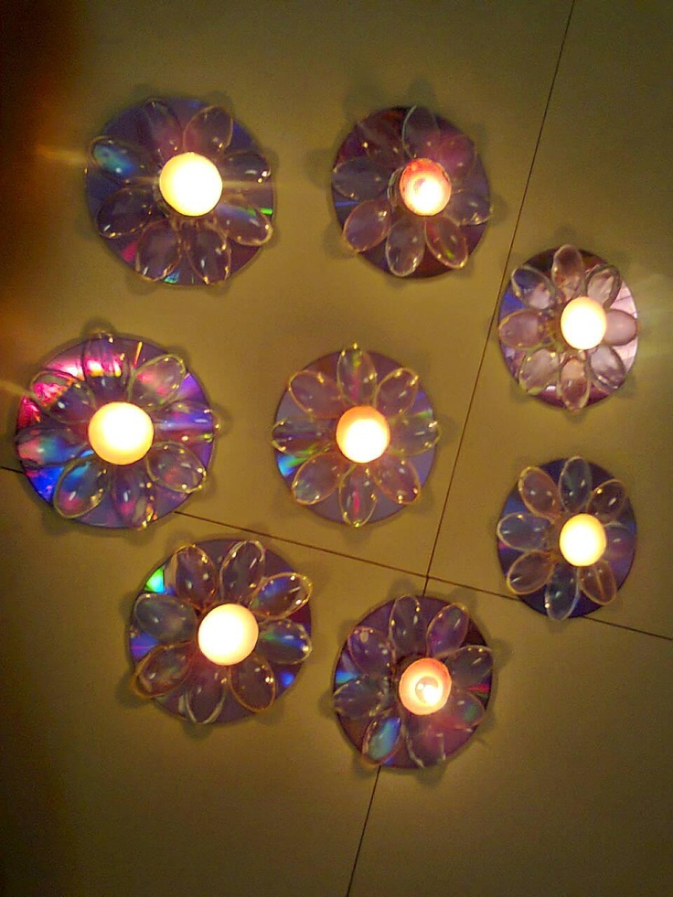 креативно использовать ненужные CD-диски: световое панно