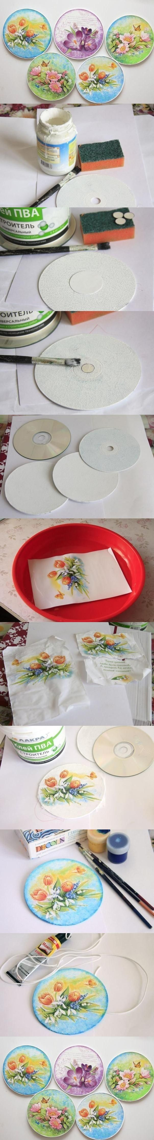 креативно использовать ненужные CD-диски: основа для наклеивания готовых картинок