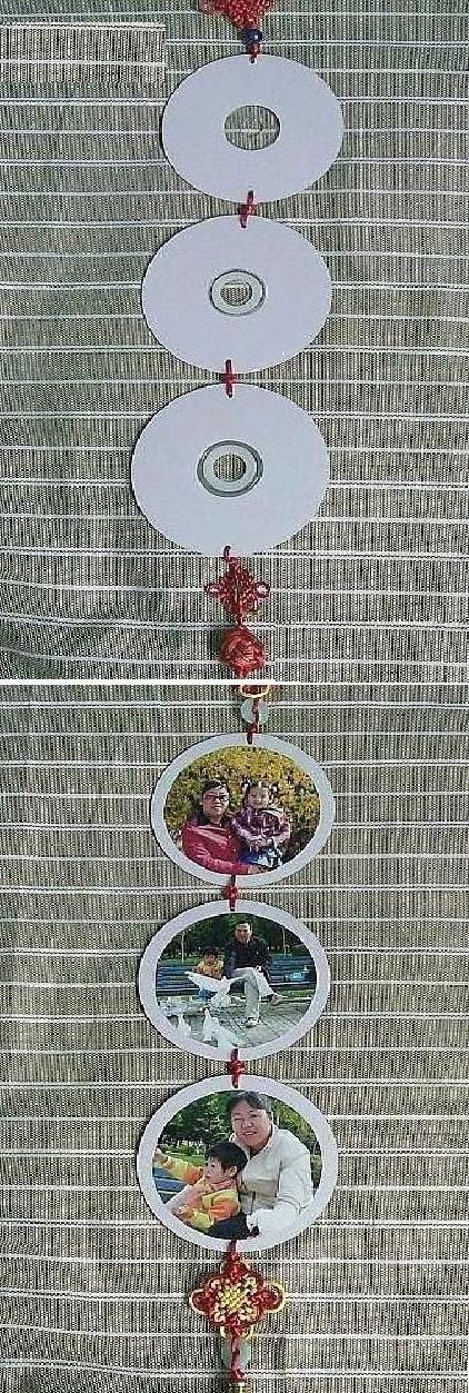 креативно использовать ненужные CD-диски: триптих для фотографий