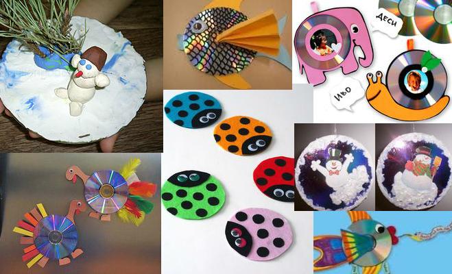 креативно использовать ненужные CD-диски: диски-основа для детского творчества