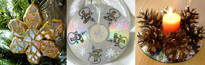 креативно использовать ненужные CD-диски: елочные игрушки и подсвечник