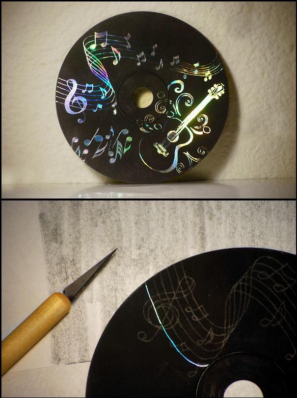 креативно использовать ненужные CD-диски: основа для резьбы по краске