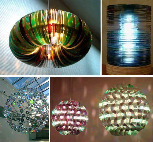 креативно использовать ненужные CD-диски: люстры из дисков