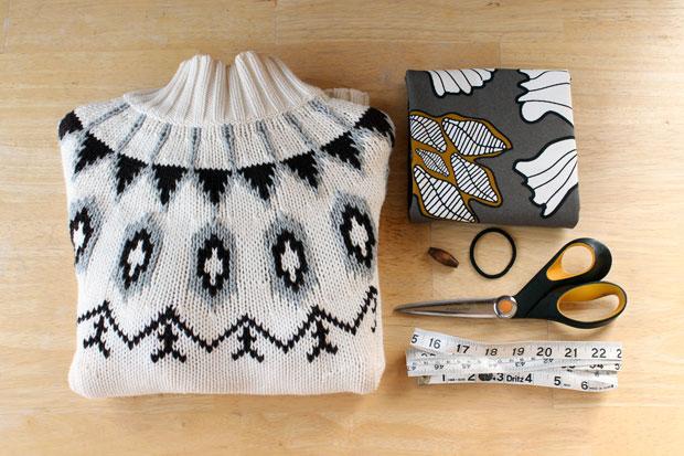 перешиваем свитер в кардиган: исходные материалы